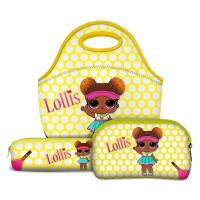 Kit Escolar Lollis Court Champ - Lancheira + Necessaire + Estojo