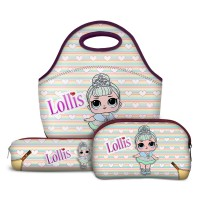 Kit Escolar Lollis Crystal Queen - Lancheira + Necessaire + Estojo