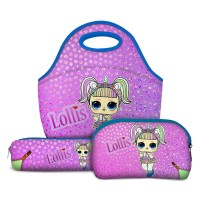 Kit Escolar Lollis Unicorn - Lancheira + Necessaire + Estojo