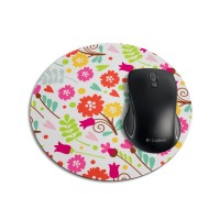 Mouse Pad Redondo - Floral Canadá Branca