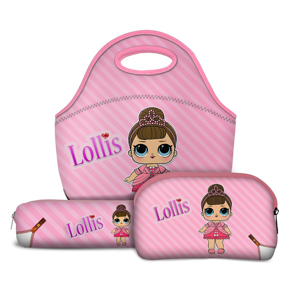 Kit Escolar Lollis Fancy Unicorn com Lancheira, Necessaire e Estojo
