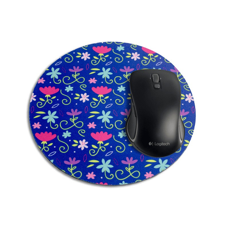 mouse pad redondo floral azul