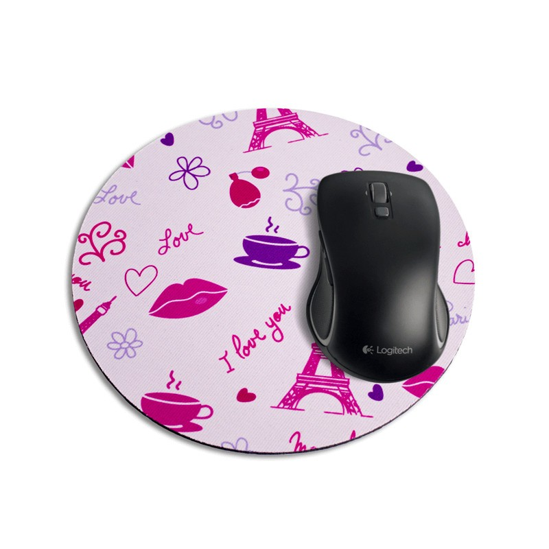 mouse pad redondo i love paris