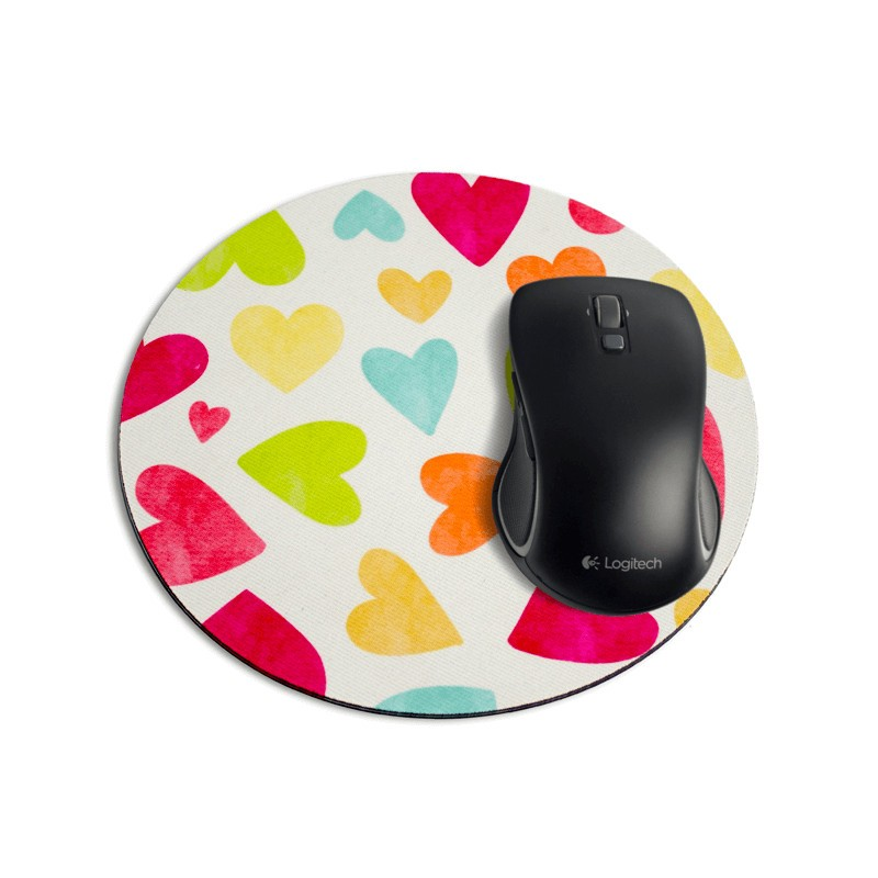 mouse pad redondo multi coracoes